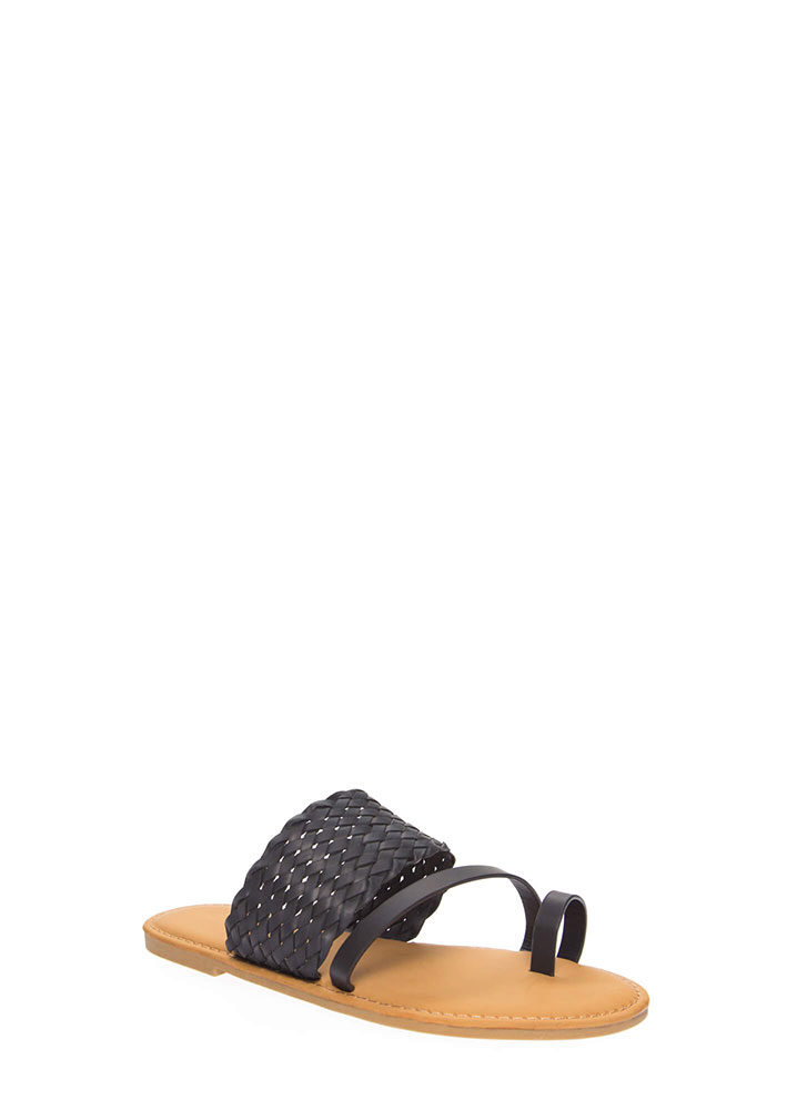 Beautiful Shores Woven Strap Sandals BLACK