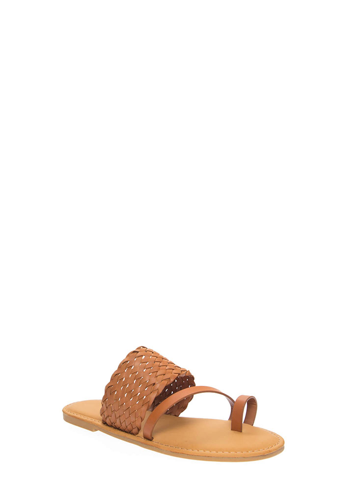 Beautiful Shores Woven Strap Sandals TAN