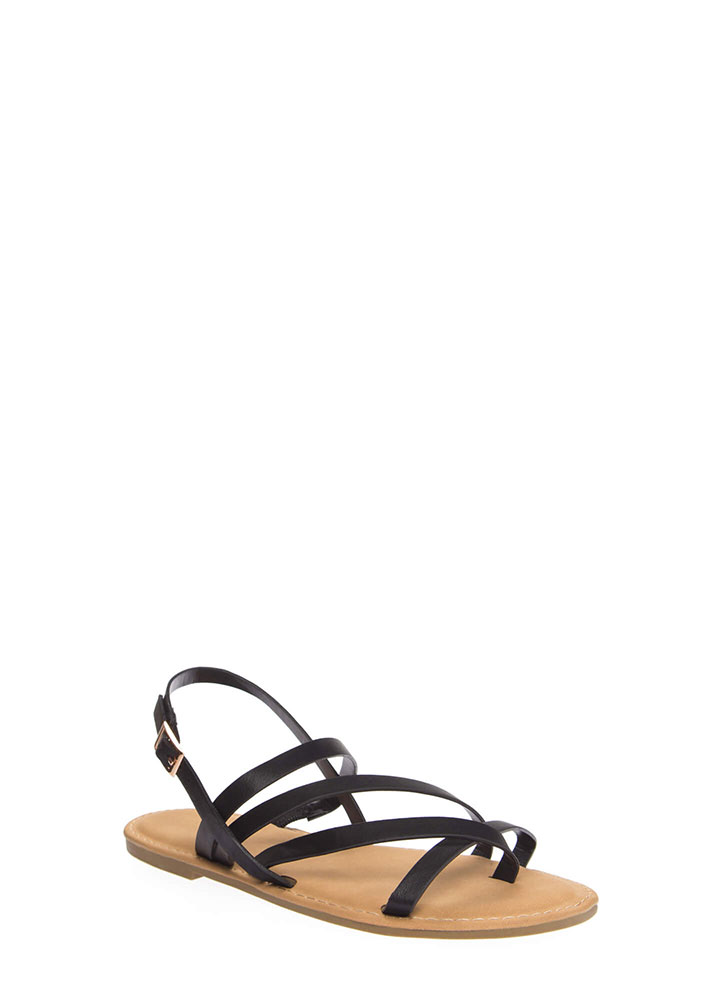 A Stroll Along The Shore Strappy Sandals BLACK (You Saved $12)