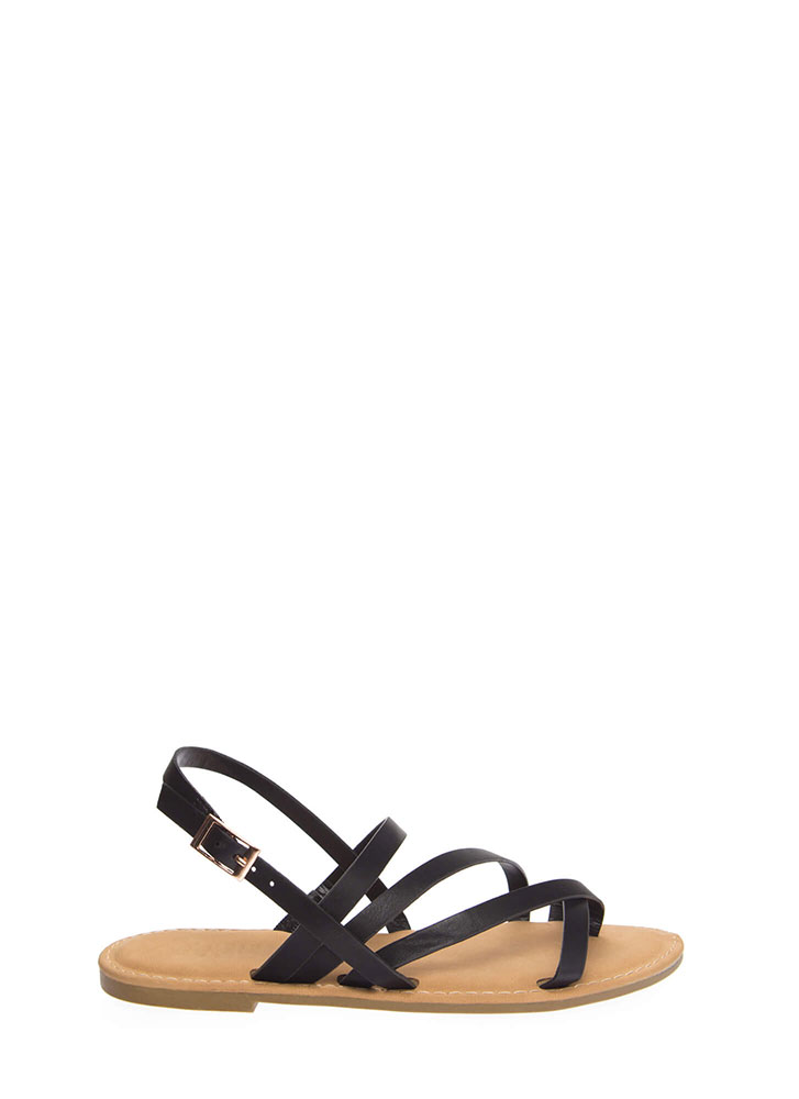 A Stroll Along The Shore Strappy Sandals BLACK