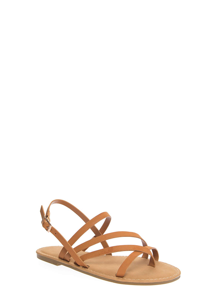 A Stroll Along The Shore Strappy Sandals TAN (You Saved $12)