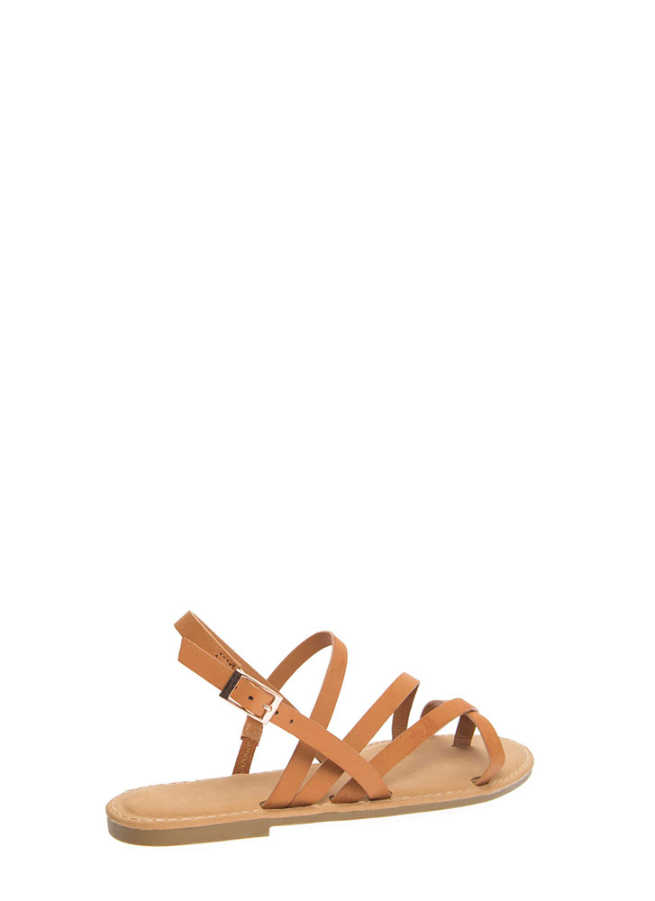A Stroll Along The Shore Strappy Sandals TAN