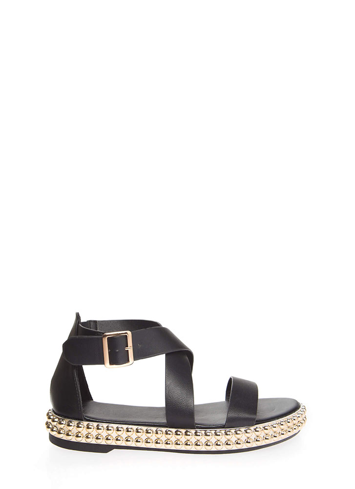 Bead Me To The Punch Strappy Sandals BLACK (You Saved $18)
