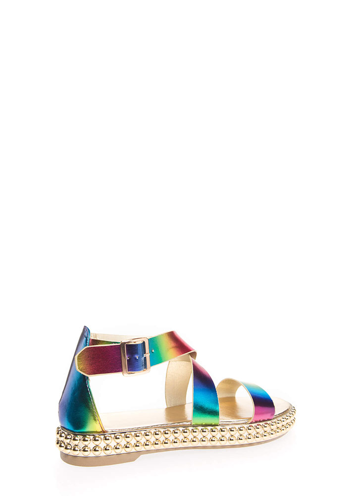 Bead Me To The Punch Rainbow Sandals RAINBOW (You Saved $20)