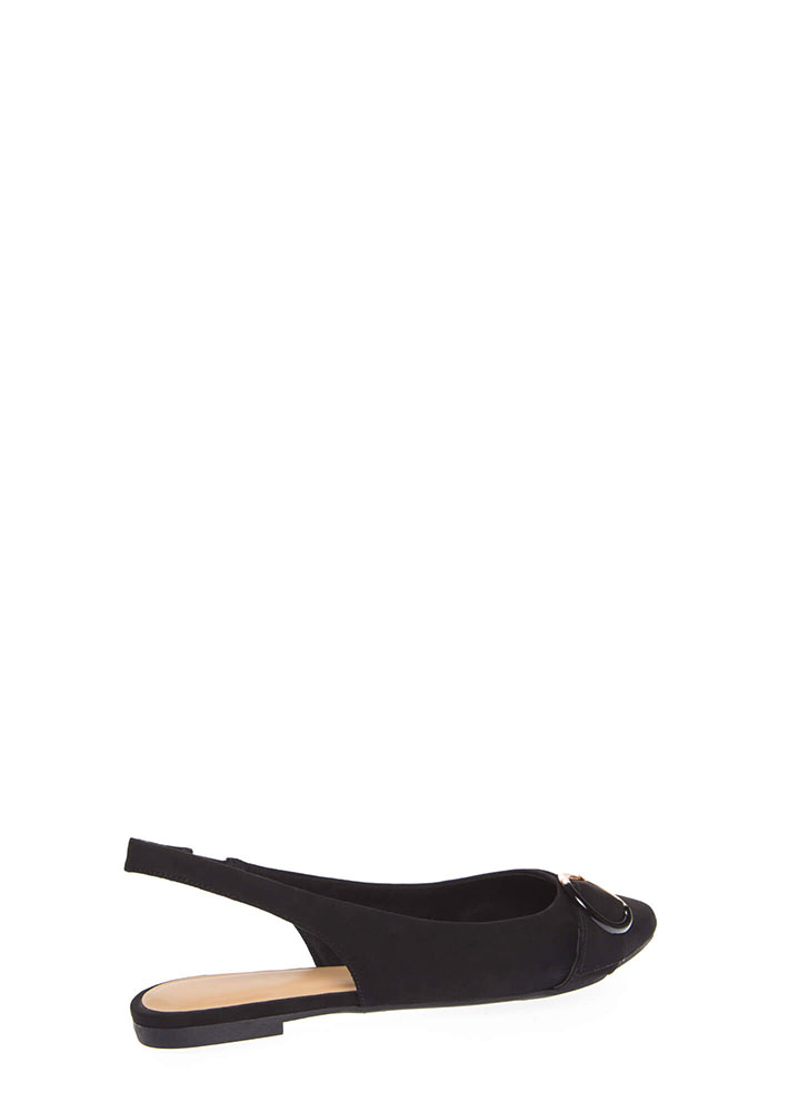 Ring True Buckled Slingback Flats BLACK (You Saved $13)