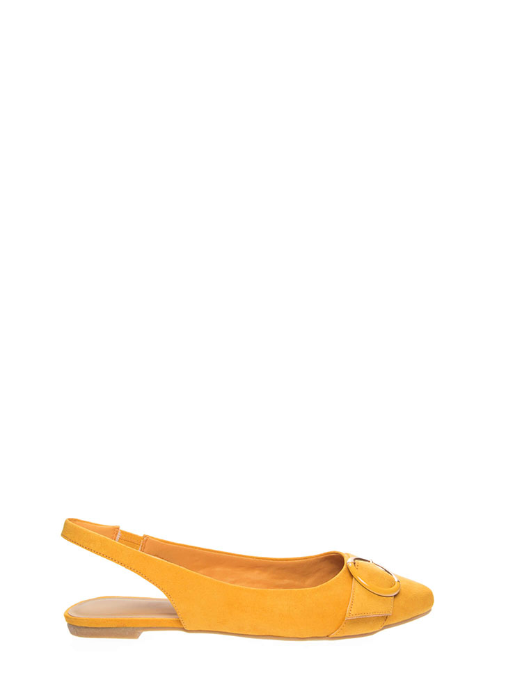 Ring True Buckled Slingback Flats MARIGOLD (You Saved $13)