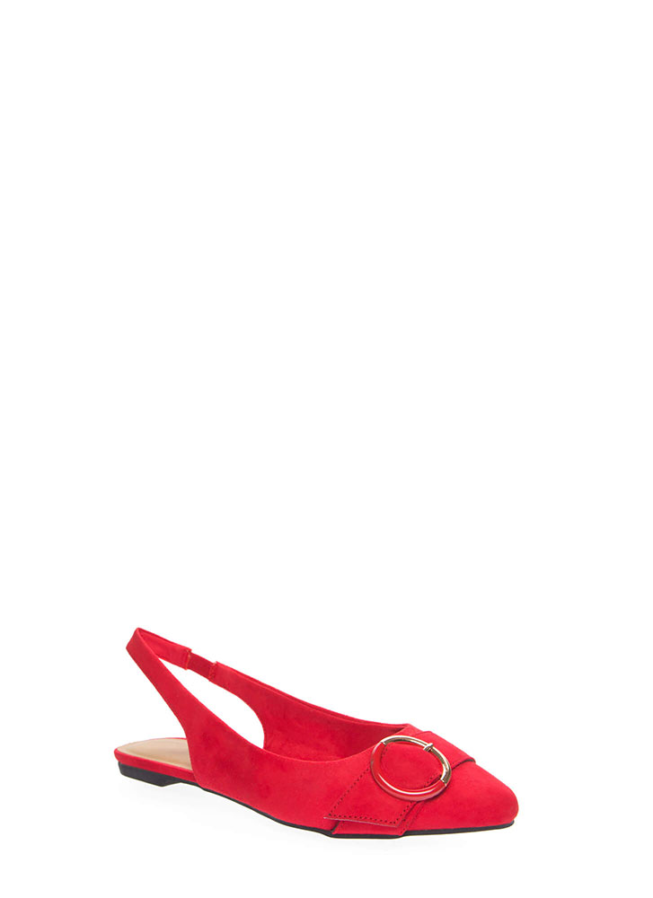 Ring True Buckled Slingback Flats RED (You Saved $13)
