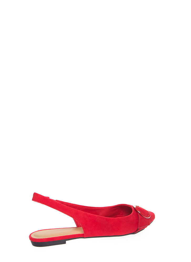 Ring True Buckled Slingback Flats RED