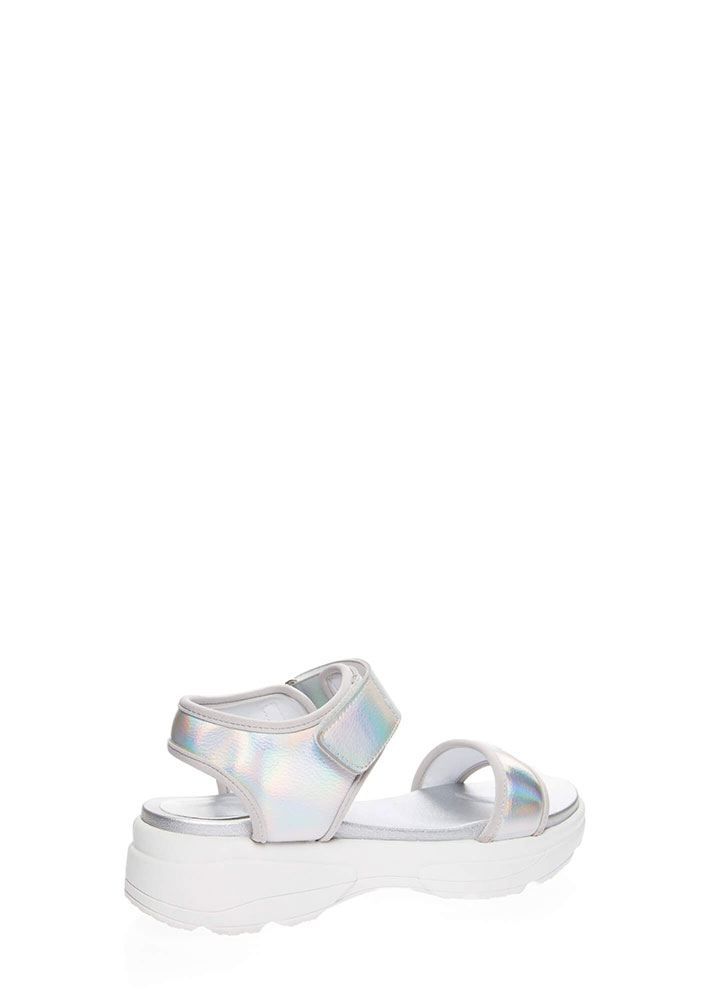 Sporty Illustrated Iridescent Sandals SILVER (You Saved $14)