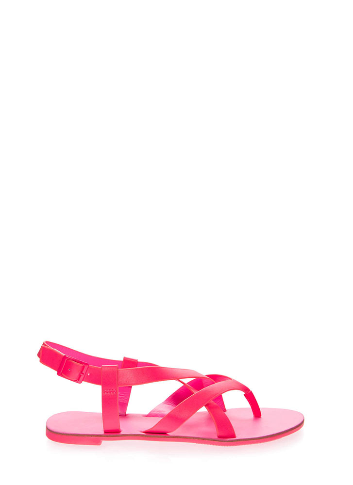 Strappy-So-Lucky Caged Thong Sandals NEONFUCHSIA