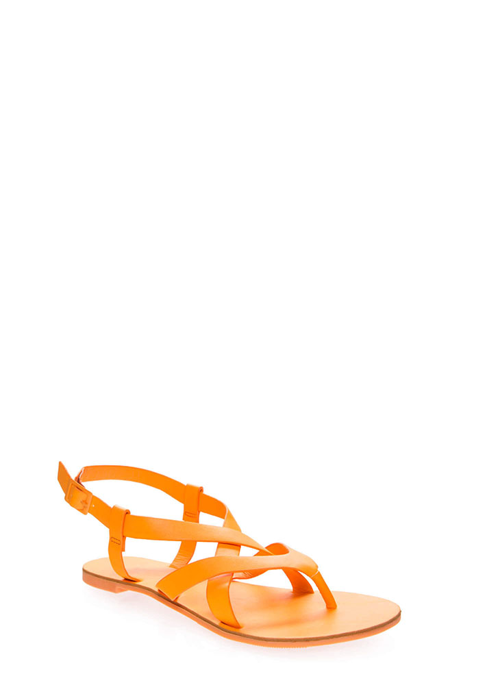Strappy-So-Lucky Caged Thong Sandals TANGERINE (Final Sale)