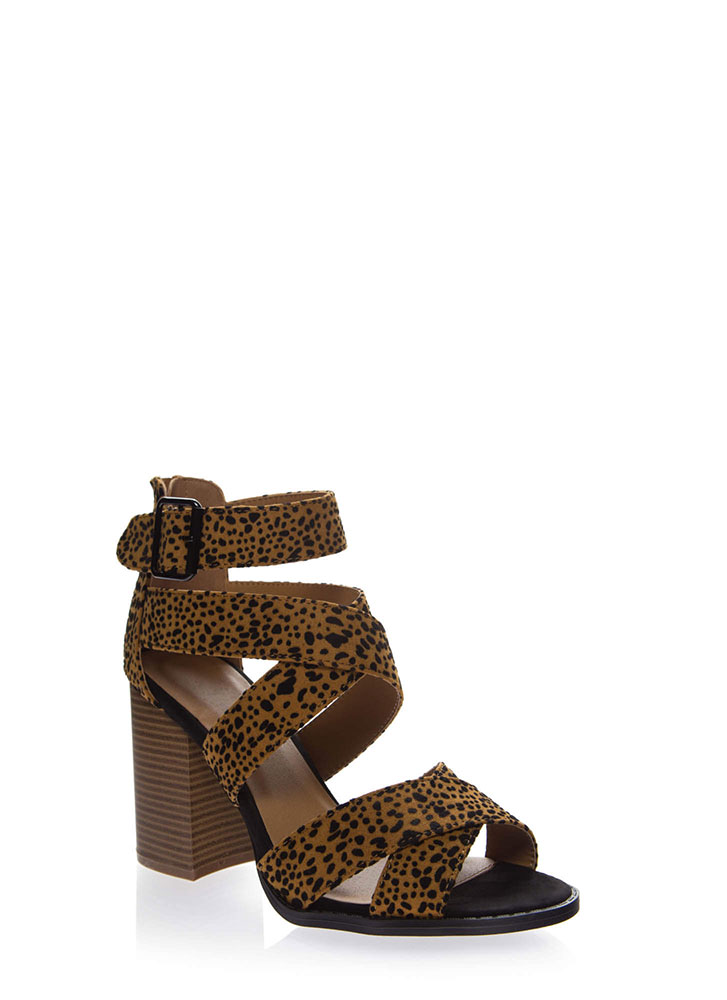 Leopard Crossing Strappy Chunky Heels CAMELBLACK (You Saved $21)