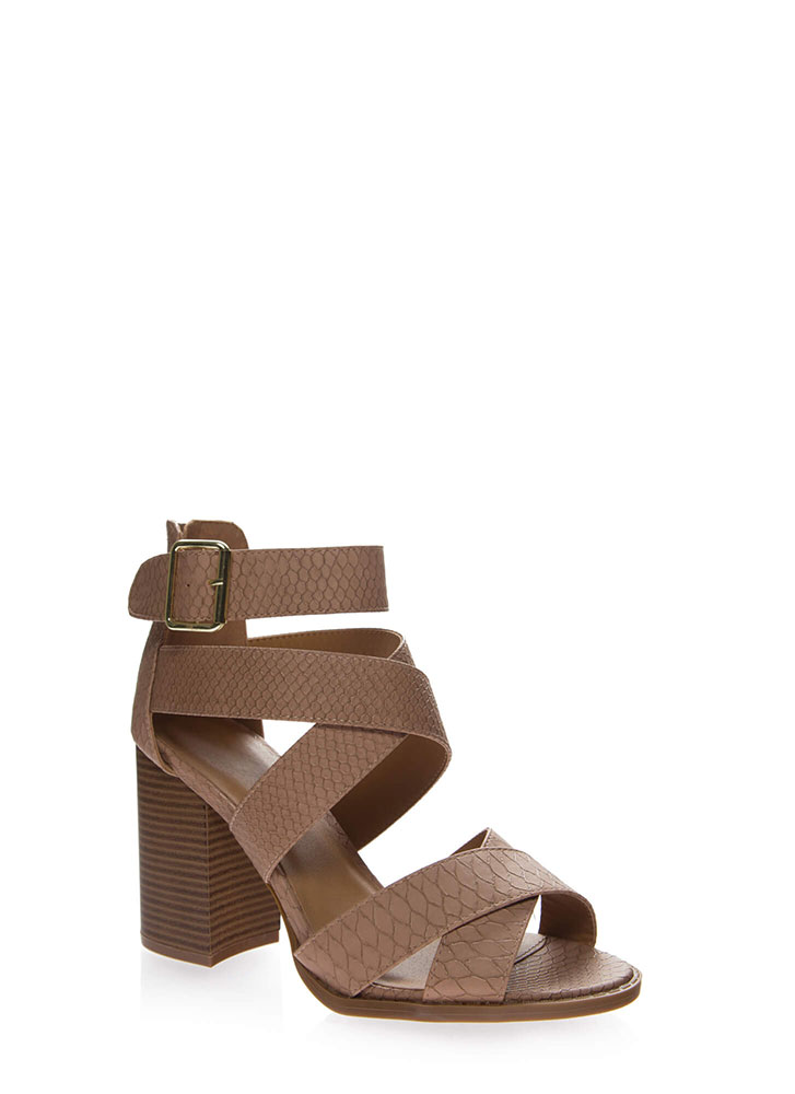 Snake Crossing Strappy Chunky Heels DKBLUSH