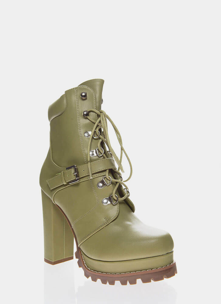 Higher Elevation Platform Lug Booties OLIVE