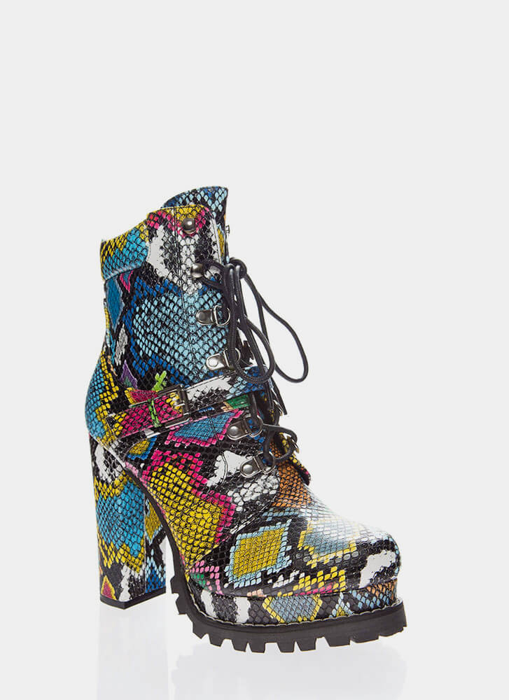 Higher Elevation Platform Lug Booties SNAKE
