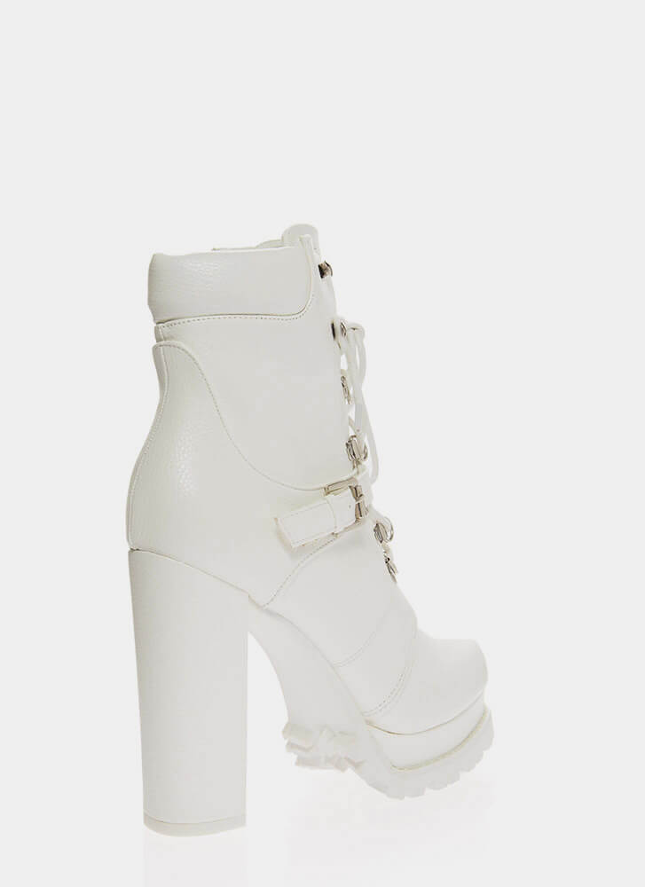 Higher Elevation Platform Lug Booties WHITE