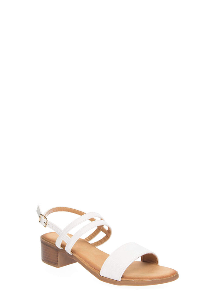 Happy Feet Strappy Block Heel Sandals WHITE