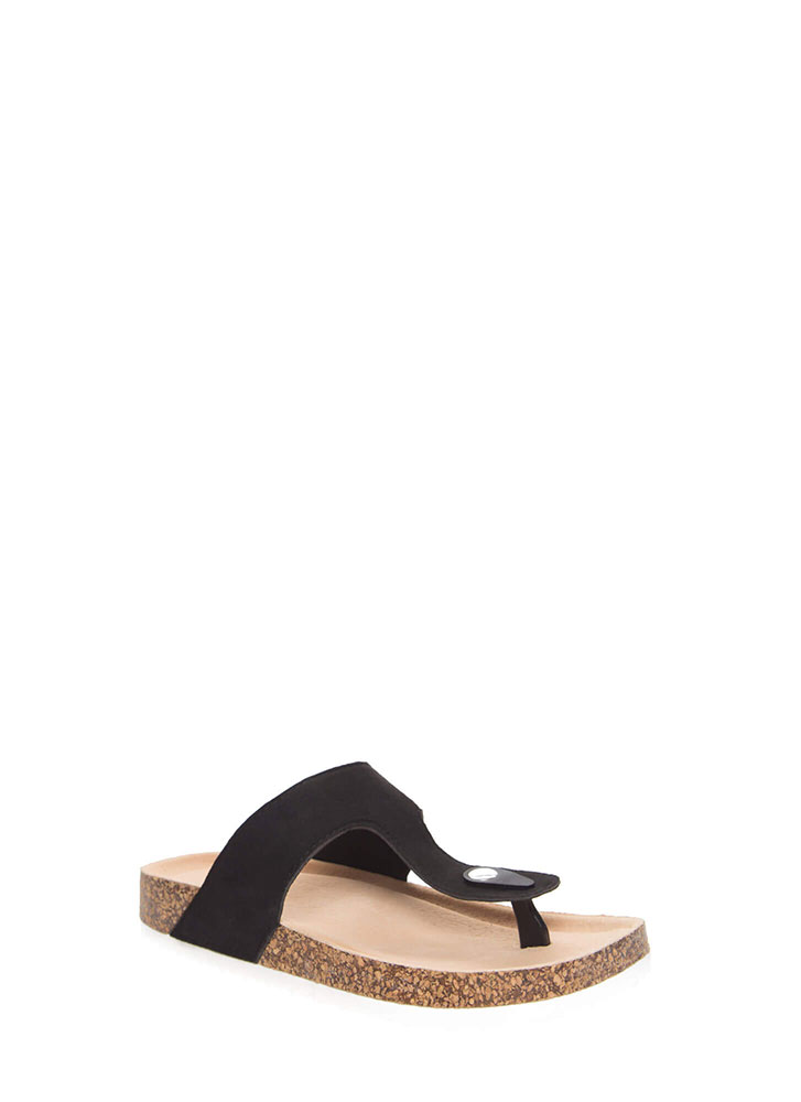 Time Out Platform Thong Sandals BLACK