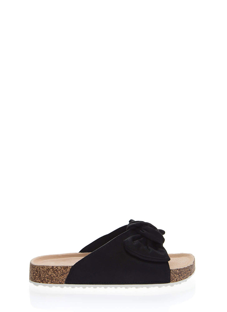 Bow Jane Knotted Platform Slide Sandals BLACK