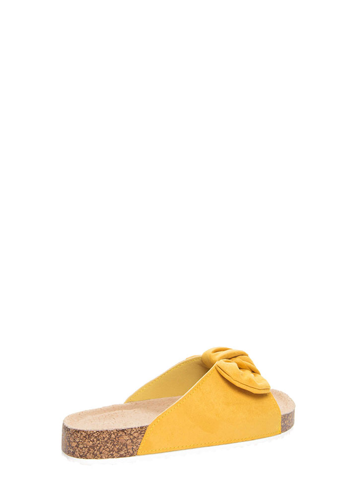 Bow Jane Knotted Platform Slide Sandals YELLOW