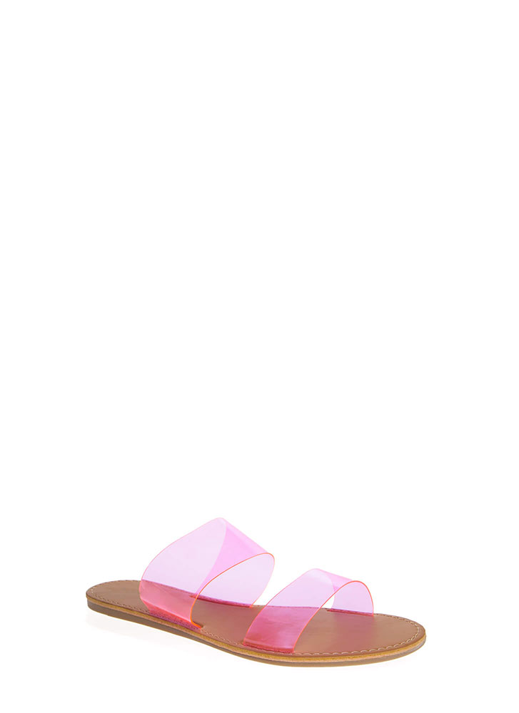 Speak Clearly Wide Strap Slide Sandals NEONPINK