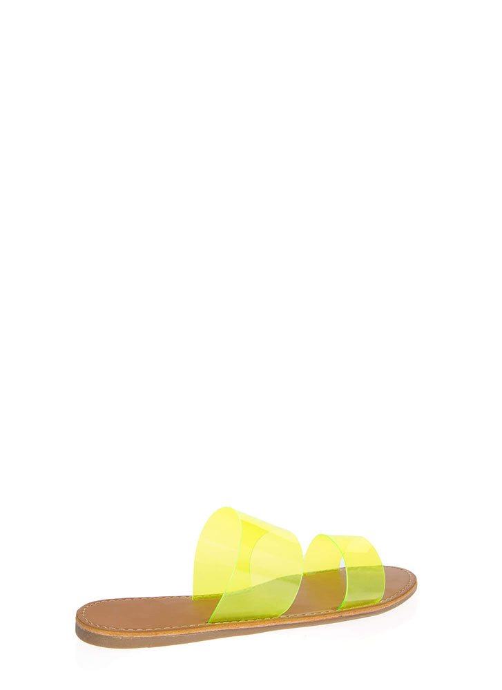 Speak Clearly Wide Strap Slide Sandals NEONYELLOW (You Saved $9)