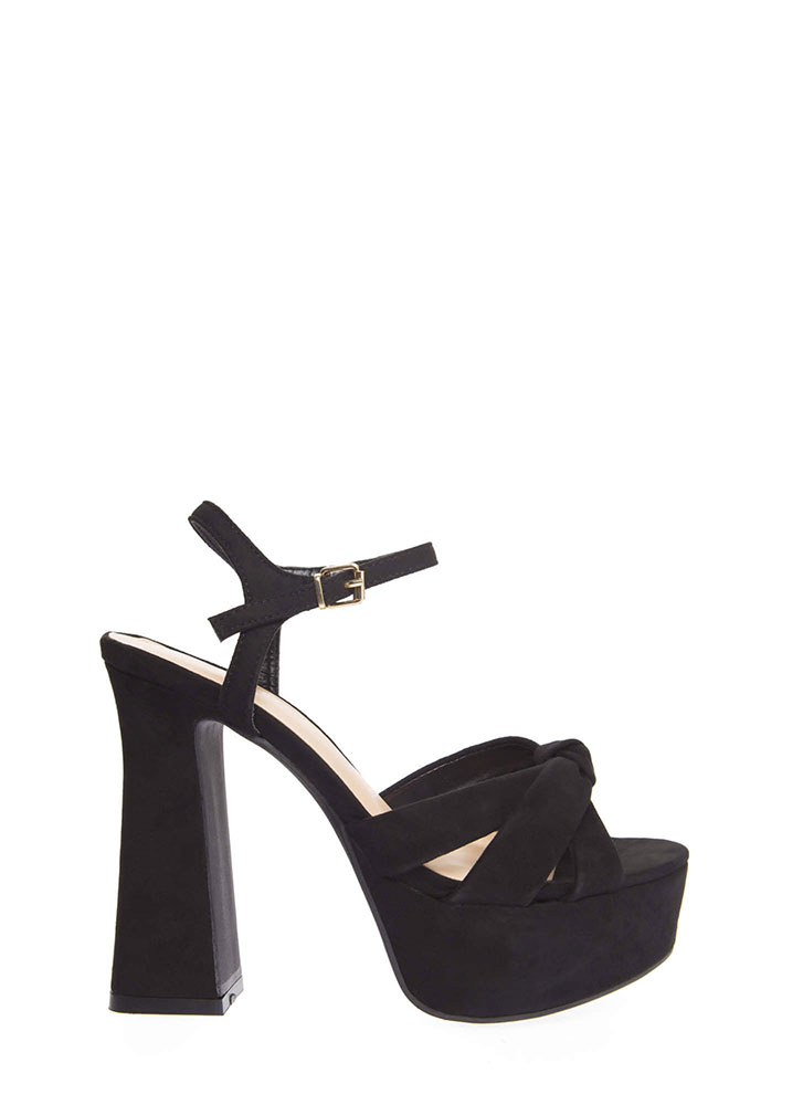 Ready For Retro Strappy Chunky Platforms BLACK (You Saved $18)