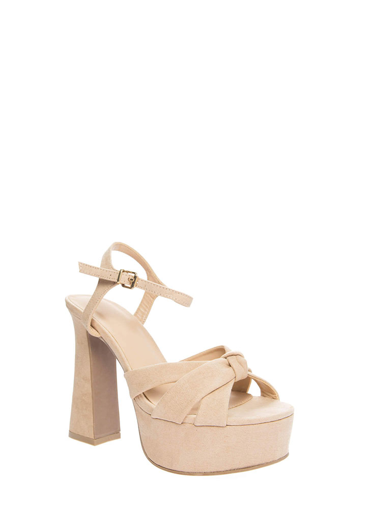 Ready For Retro Strappy Chunky Platforms NATURAL (You Saved $18)