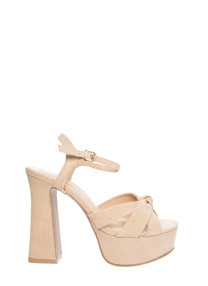 Ready For Retro Strappy Chunky Platforms NATURAL