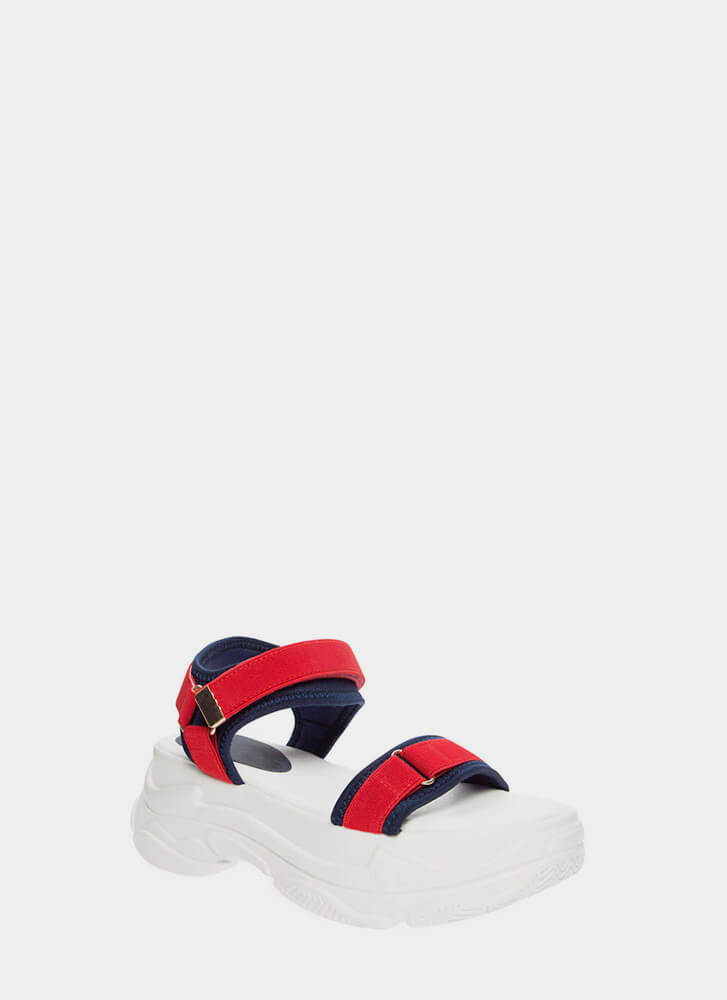 Sporty Strappy Sneakers Platform Sandals REDCOMBO