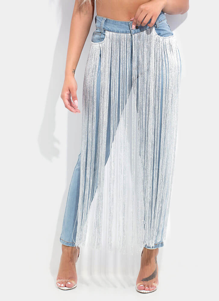 Curtain Call Metallic Fringe Jeans LTBLUE