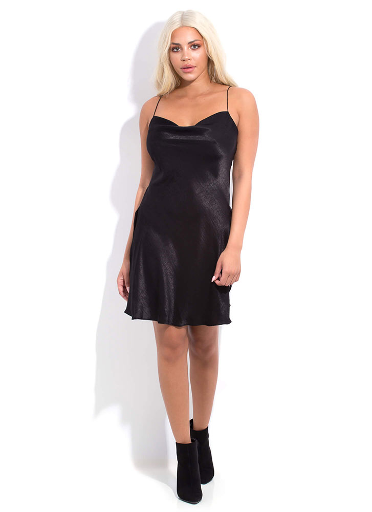 Nightie Night Slit Cami Slip Dress BLACK