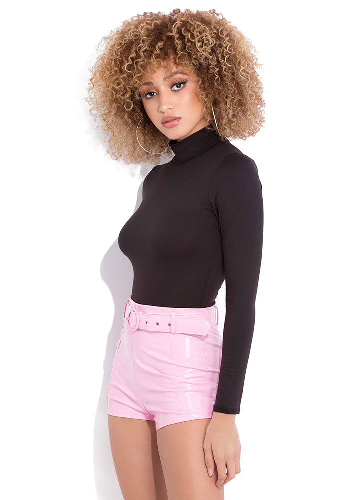 Glossy Lips Belted Faux Patent Shorts PINK (You Saved $23)