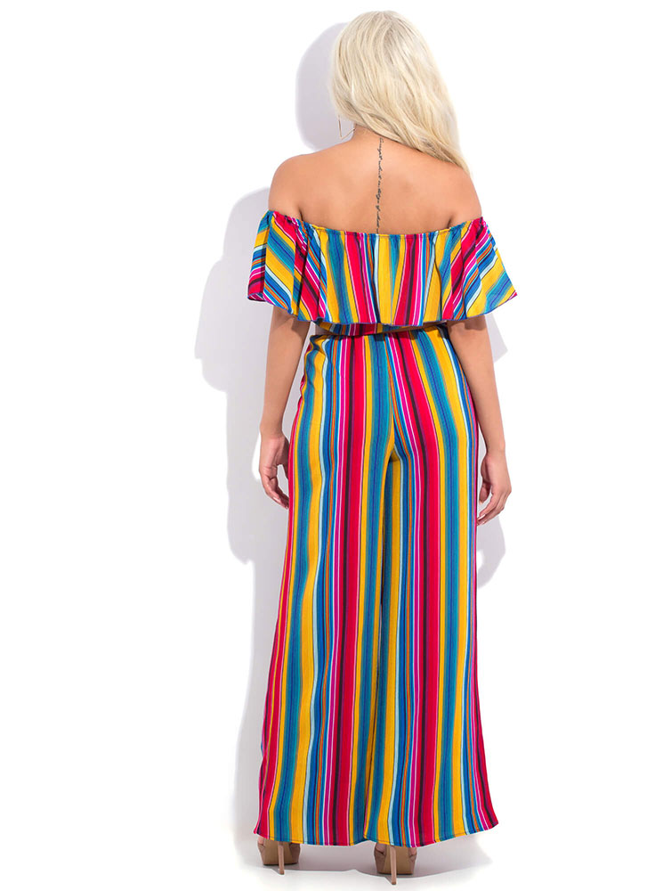 Party Time Striped Off-Shoulder Jumpsuit MULTI (You Saved $26)