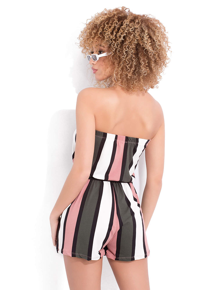 Expert Panel Striped Strapless Romper MAUVE (You Saved $11)