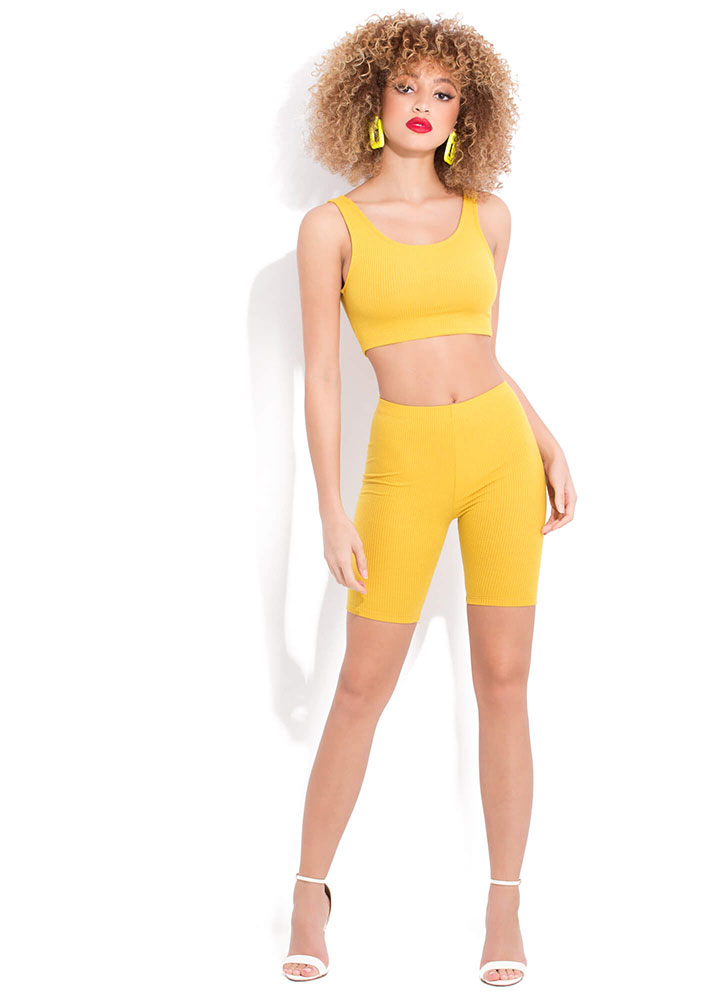 It'll Work Out Ribbed Top And Shorts Set MUSTARD (You Saved $11)