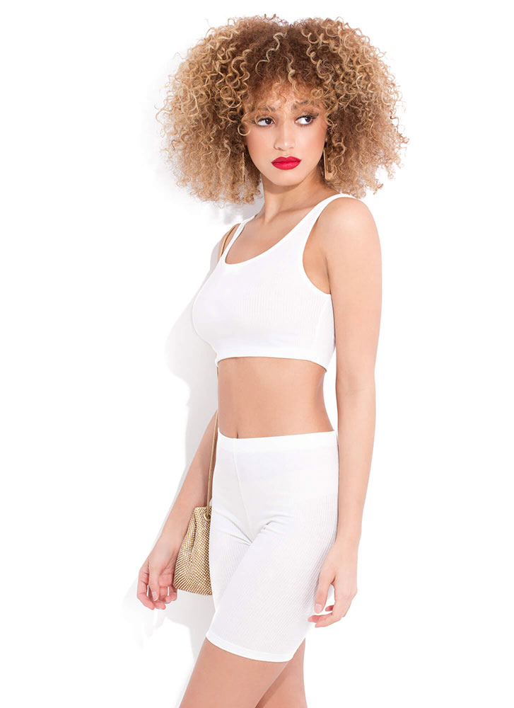 It'll Work Out Ribbed Top And Shorts Set WHITE (You Saved $11)