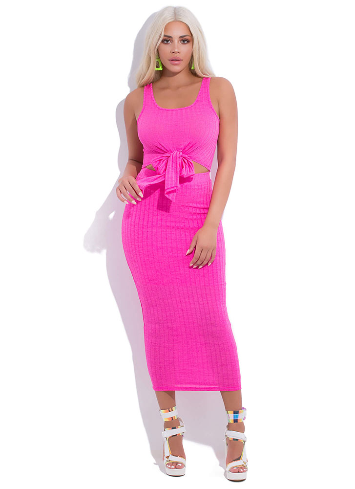 Tied For First 2-Piece Maxi Dress FUCHSIA (You Saved $24)