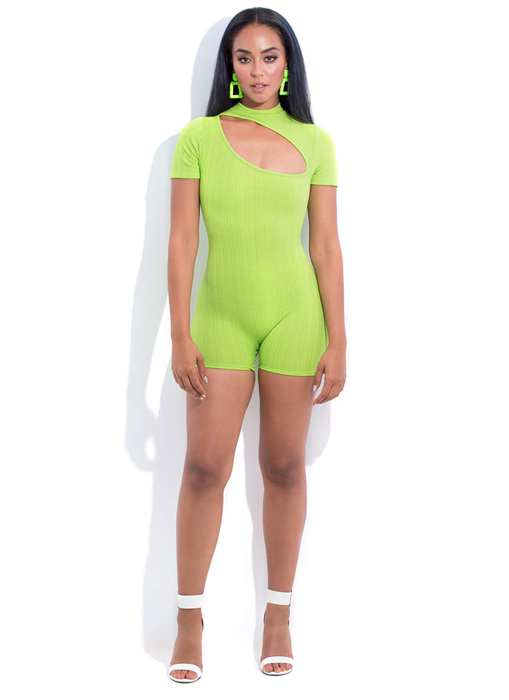 Off My Chest Cut-Out Mockneck Romper LIME (You Saved $22)