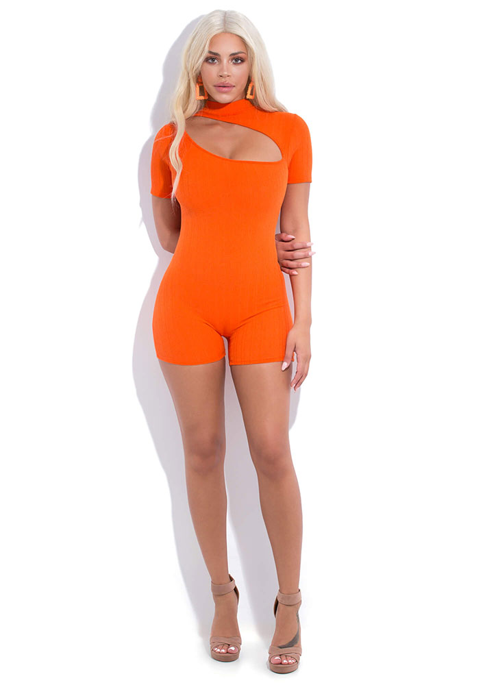 Off My Chest Cut-Out Mockneck Romper ORANGE (You Saved $22)