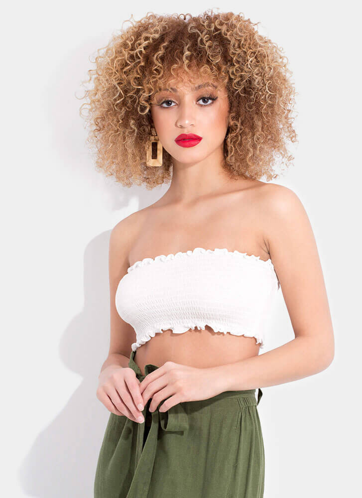 Better Bandeau Frilly Smocked Tube Top WHITE