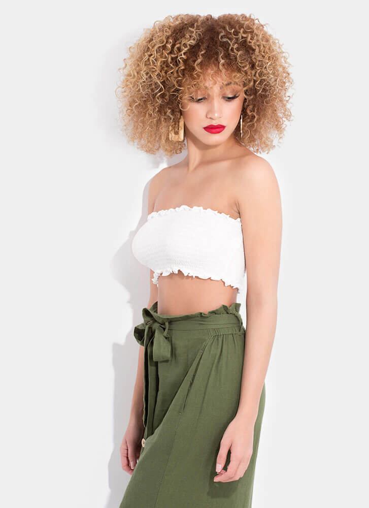 Better Bandeau Frilly Smocked Tube Top WHITE (You Saved $4)