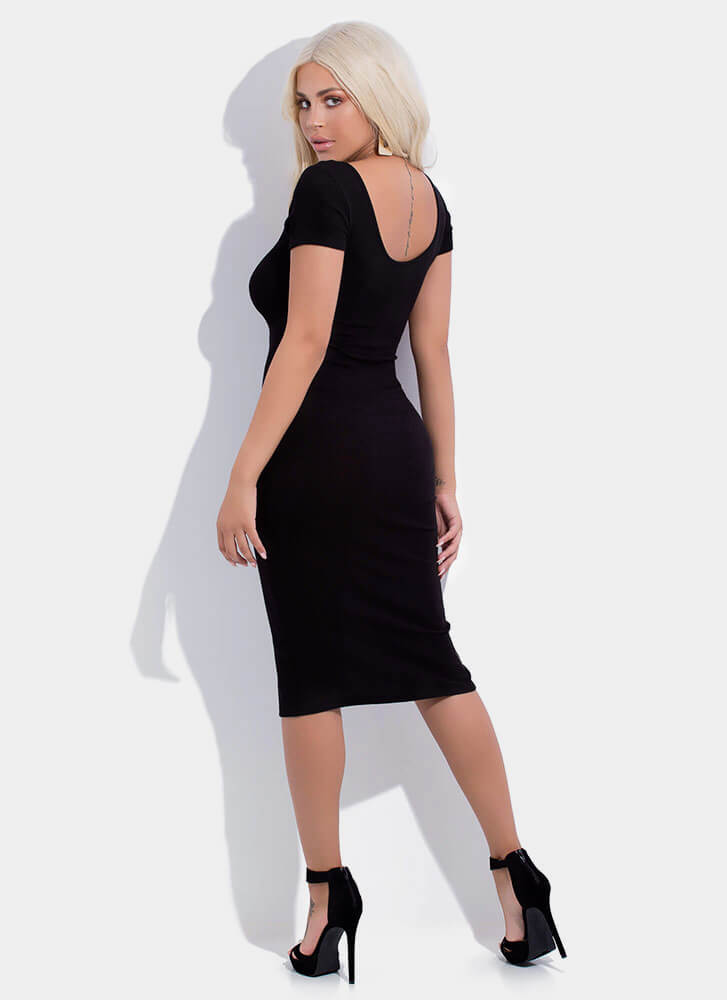 More Buttons Please Rib Knit Midi Dress BLACK