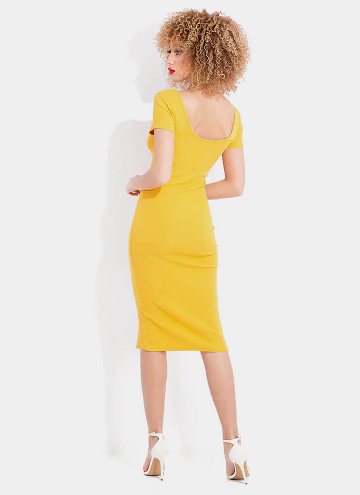 More Buttons Please Rib Knit Midi Dress MUSTARD