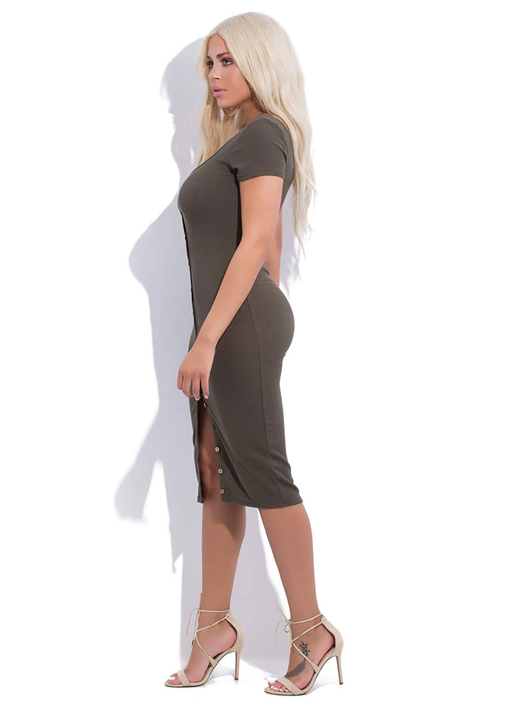 More Buttons Please Rib Knit Midi Dress OLIVE (You Saved $11)