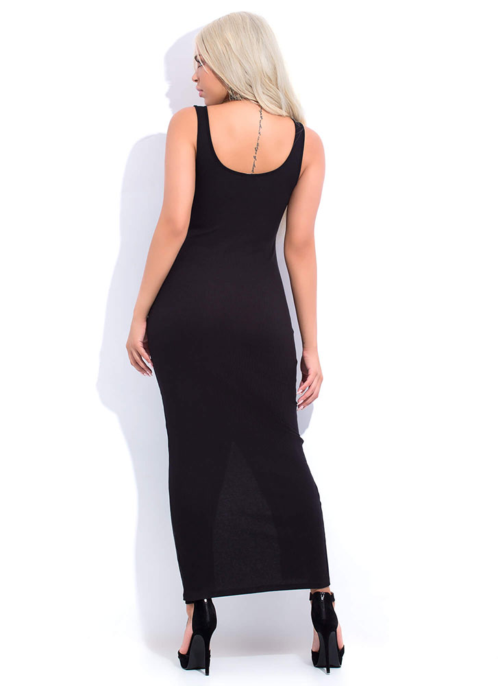 Push My Buttons Scoop Neck Maxi Dress BLACK (You Saved $15)