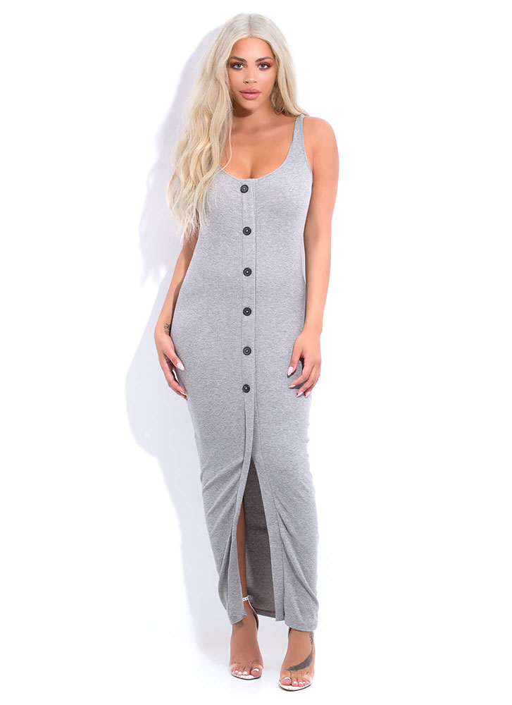 Push My Buttons Scoop Neck Maxi Dress GREY (You Saved $15)