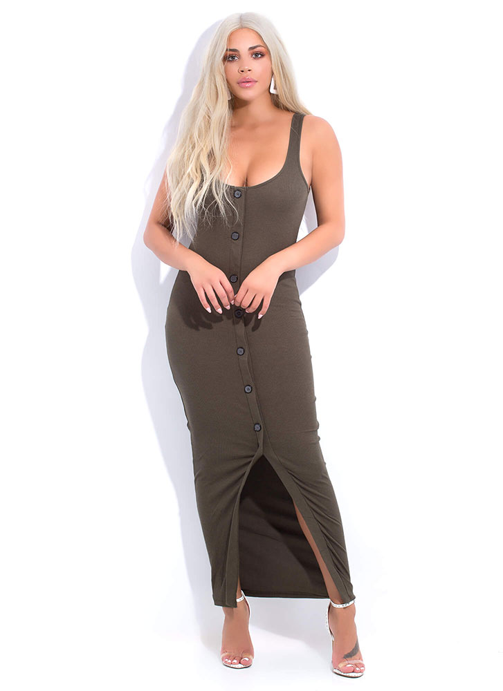 Push My Buttons Scoop Neck Maxi Dress OLIVE (You Saved $15)