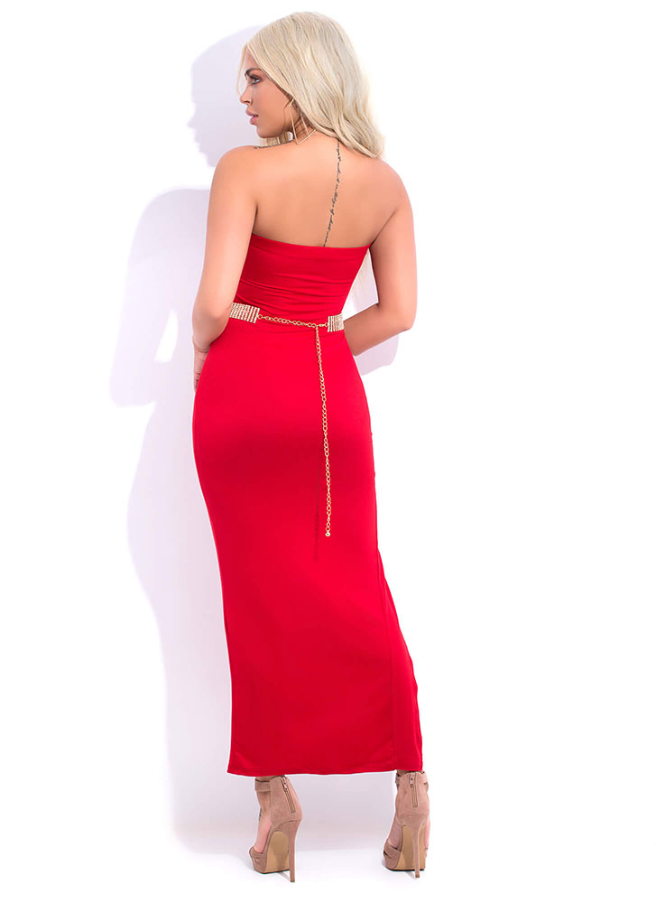 Take Me There Strapless Slit Maxi Dress RED