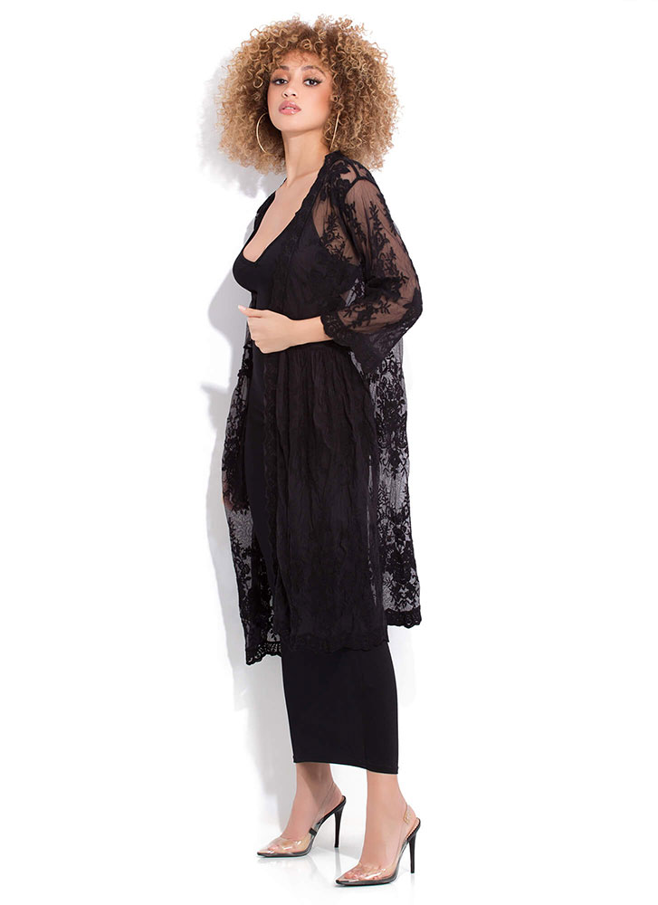 Delicate Sheer Floral Lace Duster BLACK